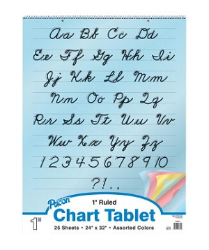 Pacon Bond Paper 2 Hole Punched Colored Cursive Cover Spiral Bound Chart Tablet