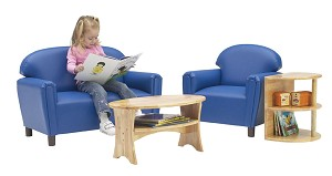 Just Like Home' Premium Preschool Vinyl Sofa and Chair Set - Choice of Color