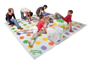 DOM Giant Get Knotted Inflatable Game, Set Includes - Inflatable Game Mat, 8 Stakes and 2 Giant Inflatable Dice